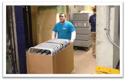 The Sheraton Boston provided more than 600 pieces of surplus for reuse, including these folding chairs.