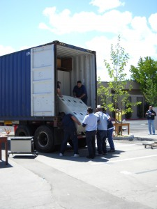 Loading a unit of lockers for shipment.