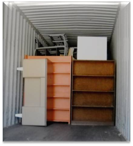 Corporate Interiors combines Drexel's material with surplus from other clients to ship full trailer loads to charity.