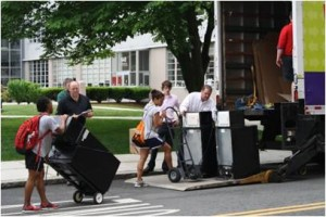 BU student volunteers brought out hundreds of microfridges and mattresses.