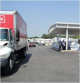 Staples provided trucking and a volunteer crew to unload BU and UCM relief supplies at Joplin.