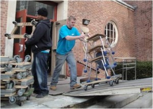 Loading furniture, Wellesley (MA) High School. This project filled 21 trailers with furniture, which was provided to children in several Caribbean nations.