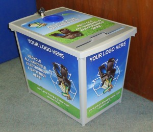 The Tech Double is a dual recycling bin for batteries and handheld electronics.