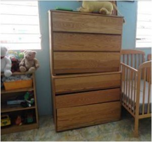 Dressers from Westfield State in a dormitory for infants, Foyer Renmen
