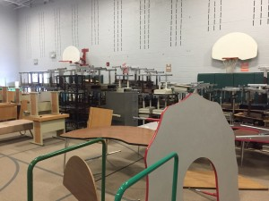 Jeffco school furniture staged to be loaded and delivered to a new home.